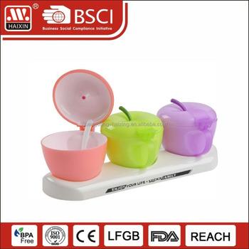 Plastic Kitchen Container Set Dispenser Cruet Set Plastic Condiment  Containers For Kitchen With Spoon