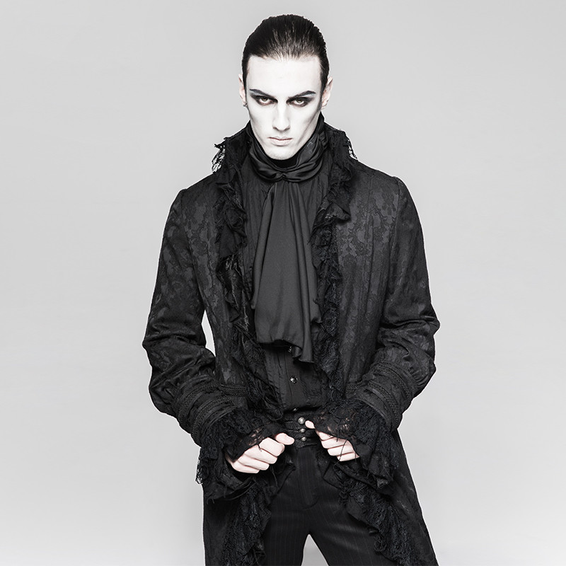 Y-759 Gothic Decadent Noble Printing Men Swallowtail Long Coat