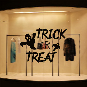 halloween decoration trick or treat ghost Wall window Sticker for home party shop vinyl transfer film removable quote wall decal