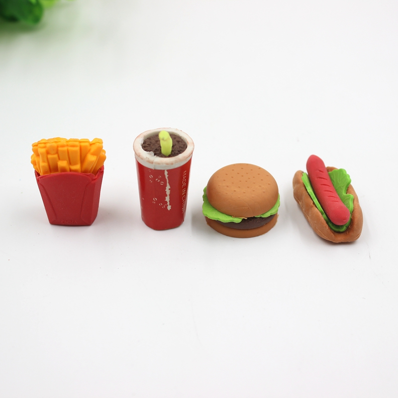 Promotional Novelty Trendy Custom Made Fast Food Shaped Erasers