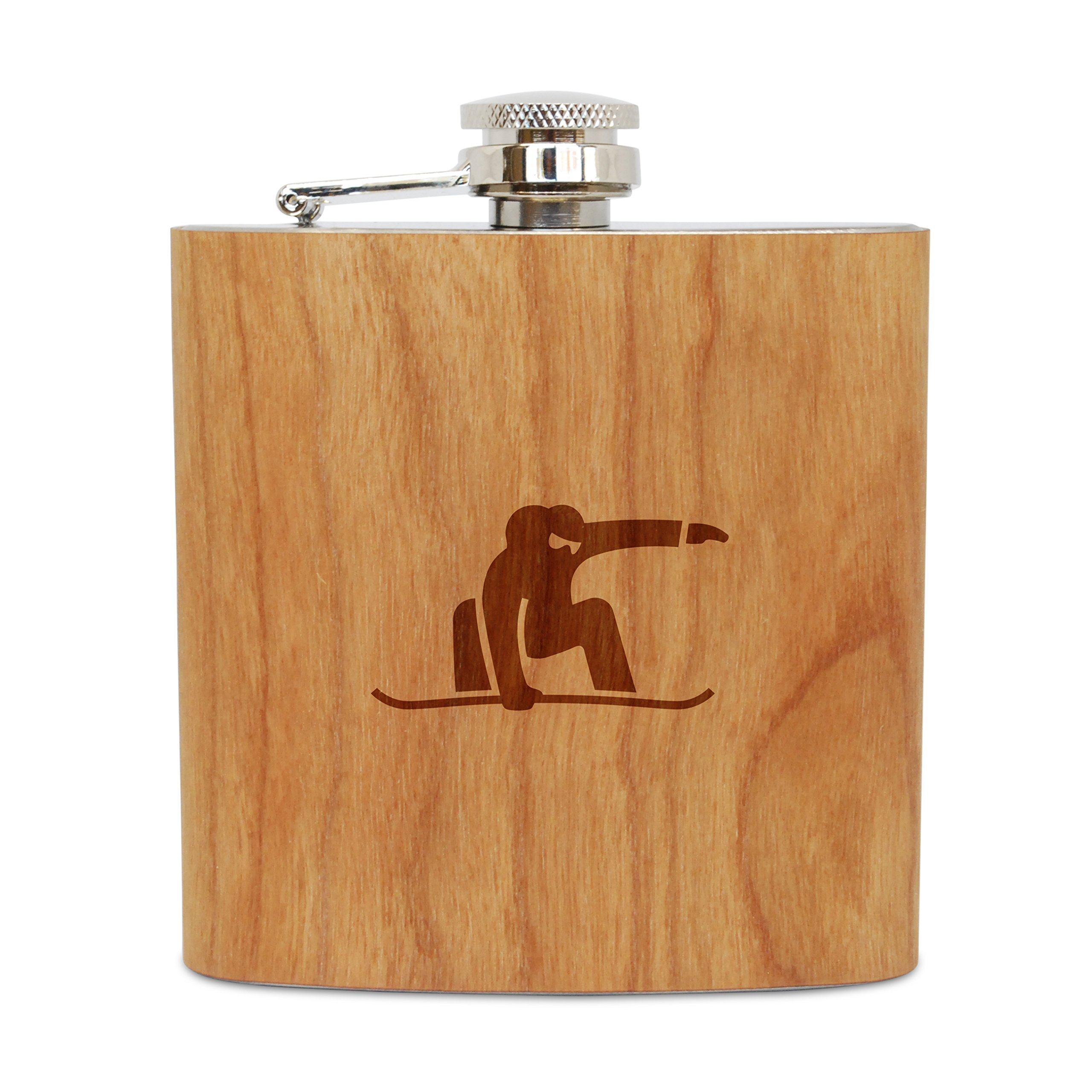 WOODEN ACCESSORIES COMPANY Cherry Wood Flask With Stainless Steel Body - Laser Engraved Flask With Snowboarding Design - 6 Oz Wood Hip Flask Handmade In USA