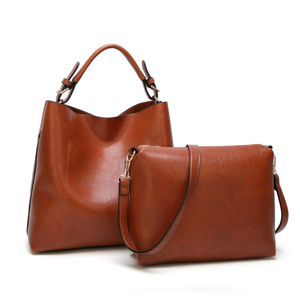 41fc78940 Venta al por mayor bolsas de mujer de cuero de la PU conjunto de dos piezas