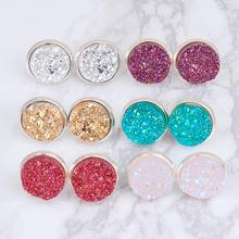 New Fashion Wholesale Round Silver W/ Stoppers Copper Pave Druzy Stud Earrings