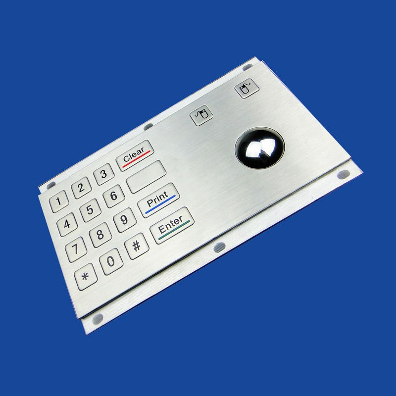 IP65 rated Keypad with 16 Flush Keys and Integrated Optical Trackball