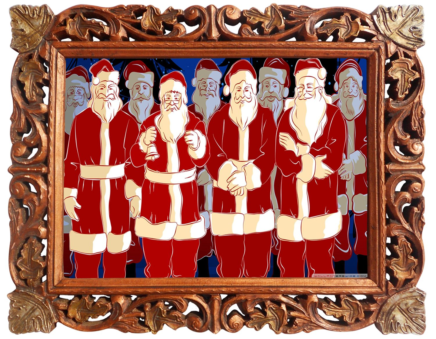 Buy santa claus with his santa friends poster framed in wood santa claus with his santa friends poster framed in wood craft frame indian wood jeuxipadfo Choice Image