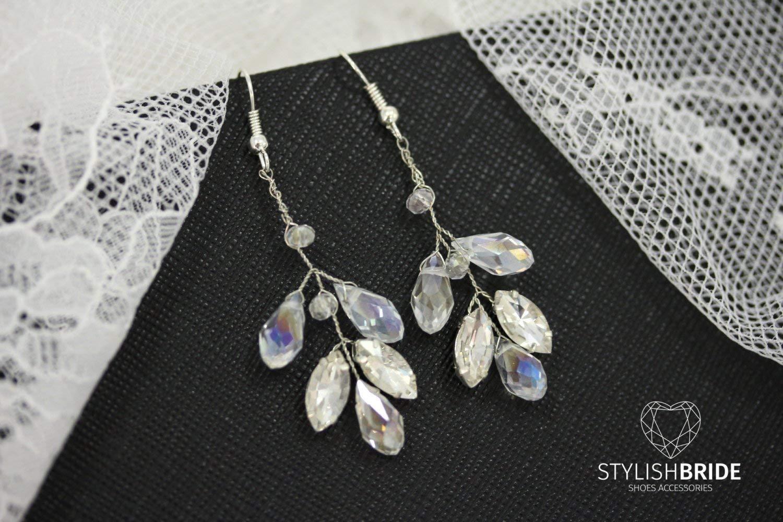 Crystal Wedding Earrings, Bridal Crystal Handmade Earrings, Wedding Handmade Earrings, Handmade Bridal Earrings, Wire Bridal Earrings