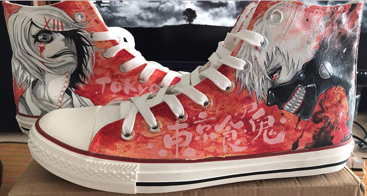 Tokyo Ghoul Shoes Men Tokyo Ghoul Shoes WomenTokyo Ghoul Anime Cosplay Shoes Hand Painted Shoes Canvas Shoes Sneakers