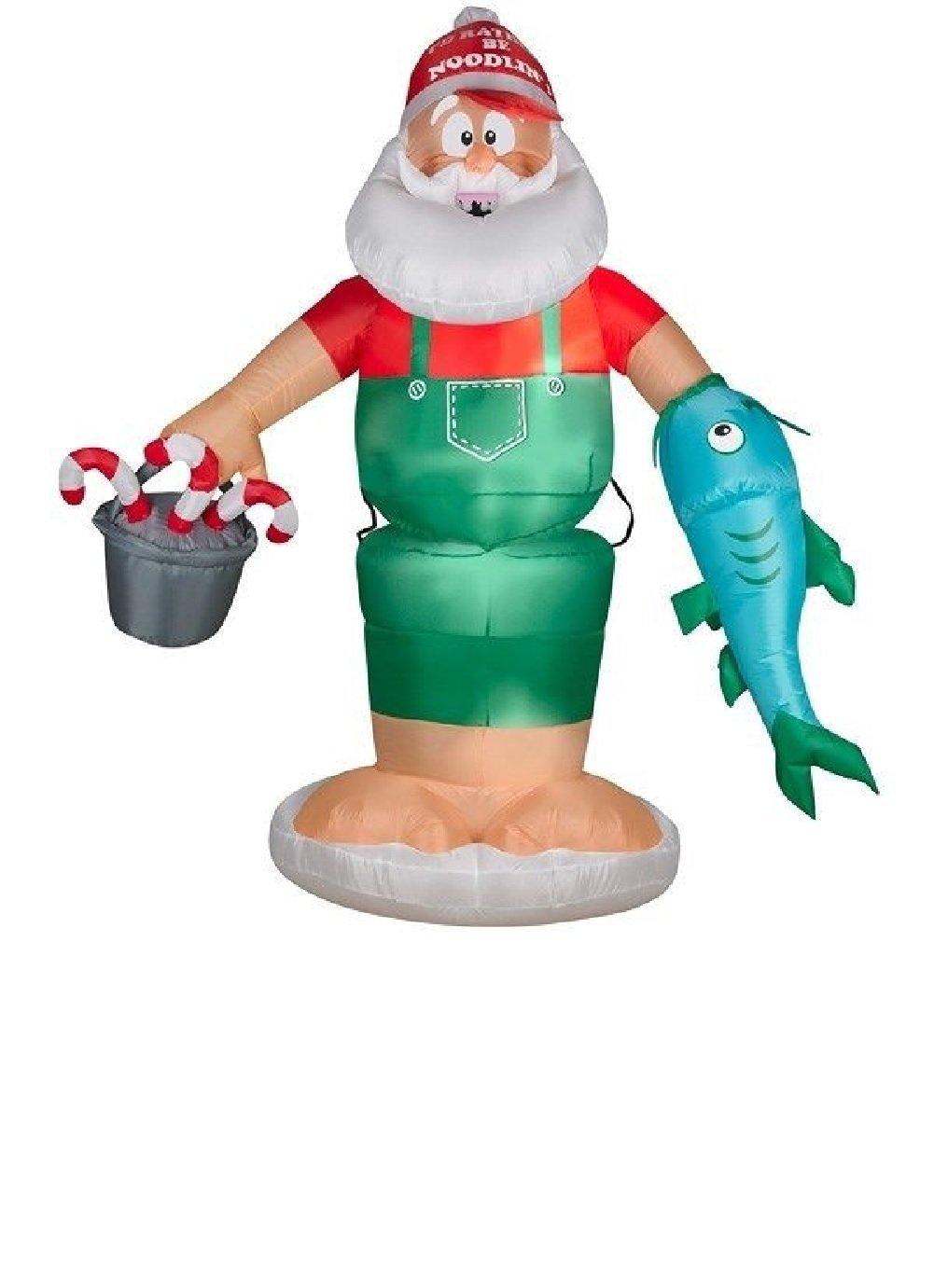 Buy 6 GEMMY CHRISTMAS SANTA ANIMATED NOODLING CATFISH AIRBLOWN ...