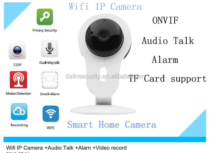 720P Smart Home HD 1Megapixel P2P IPC Wifi Camera with dual way audio