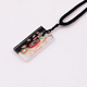 Classic flower resin glass square Coat Chain pendant