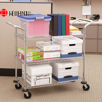 Zhong Shan 3 Tiers Office Metal Transport Document Trolley , NSF Approval