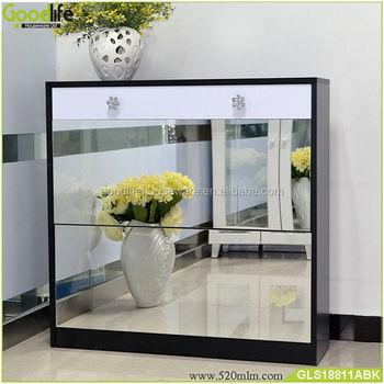 Furniture Factory Wooden Shoe Cabinet Door Shoe Rack With Mirror