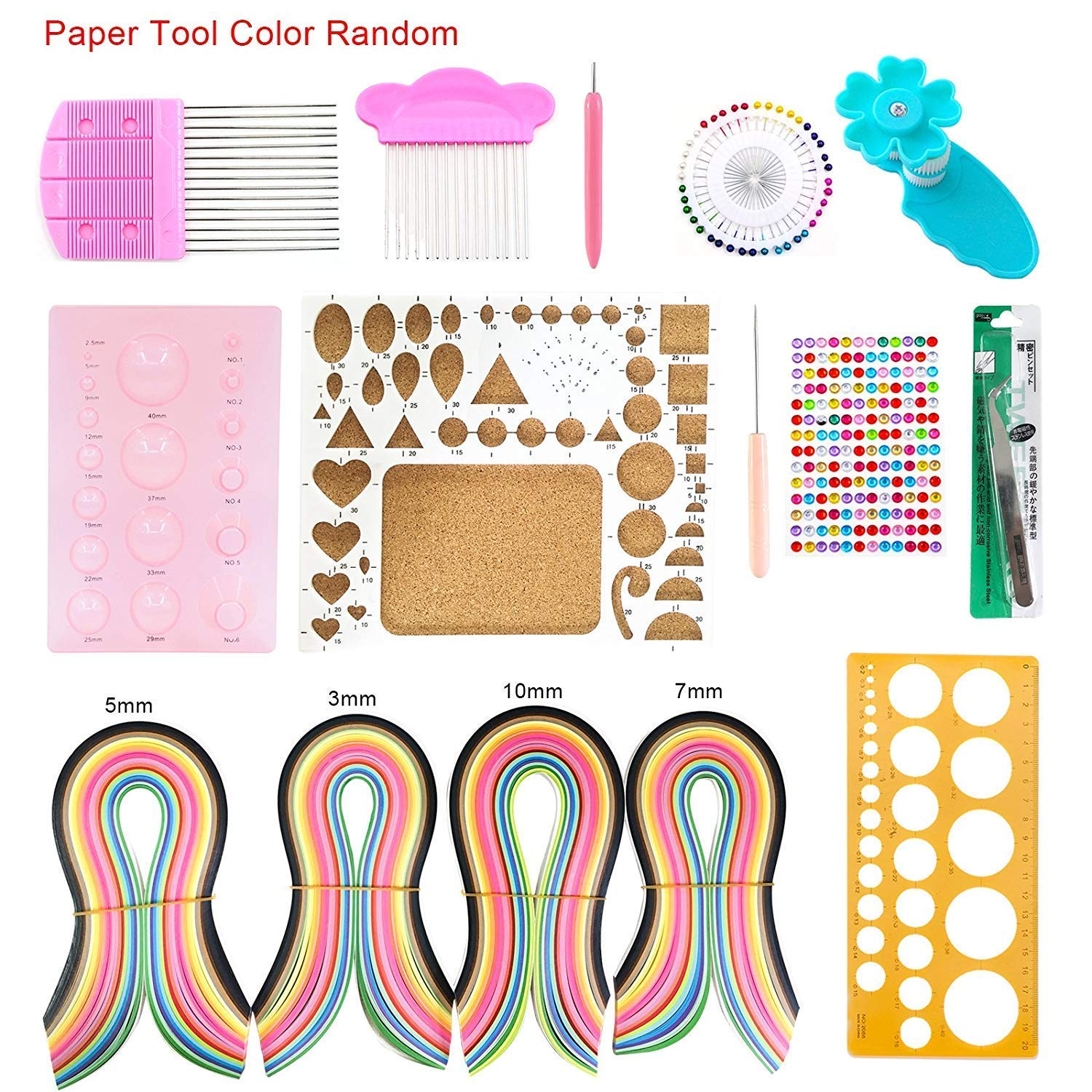 Advanced Quiller DIY Quilling Paper 9 Gradient Colors 54cm Length DIY Paper Quilling Set Craft Tool for Beginners Kids and Adults 3mm