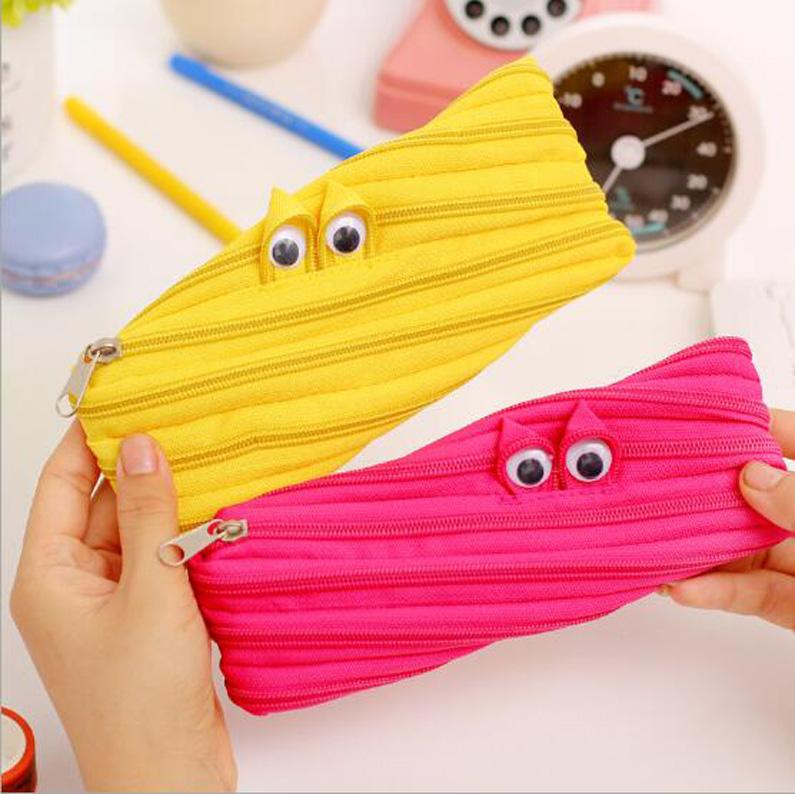 Zip fabric pencil pouch/originality pencil case/kids love pencil bag