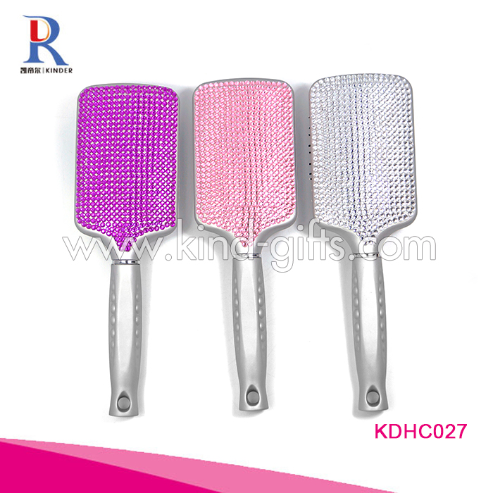 High Popular Nice Quality Fashional Bling Bling Silver Paddle Brush Fancy Cheap Custom Hair Brush