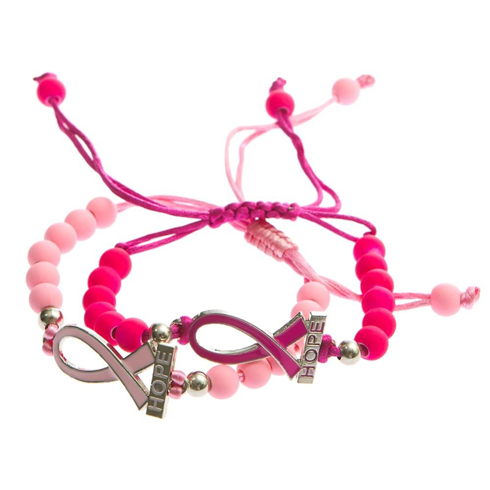 Breast Cancer Awareness Pink Ribbon Beads Of Hope Bracelet Survivor Patient Gifts Charm Jewelry