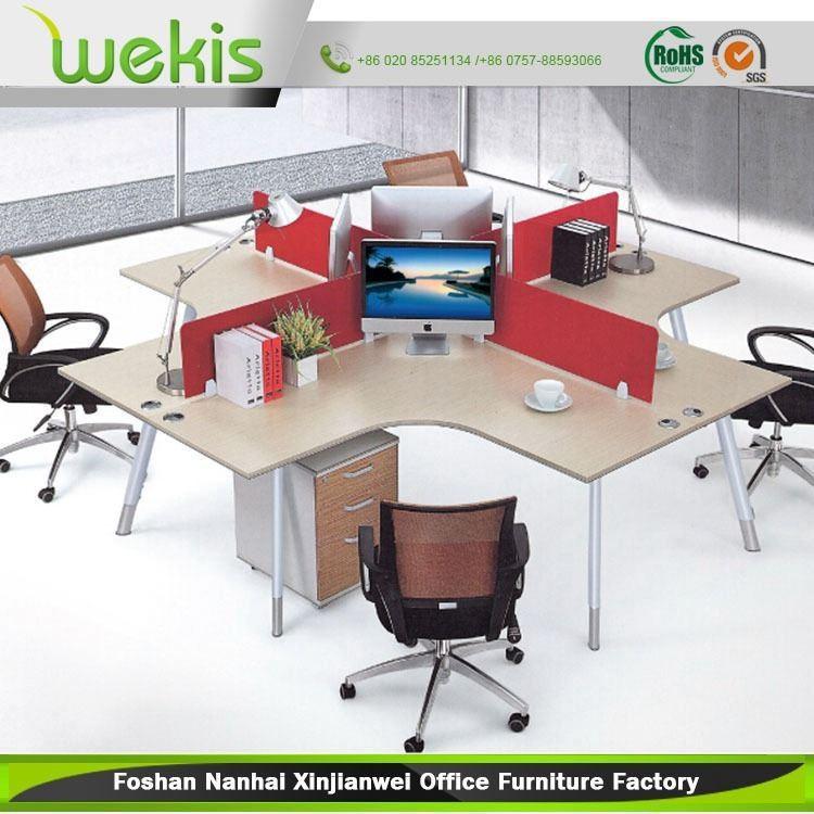 Estilo moderno oficina estaci n de trabajo para 4 personas for Suministro de oficina
