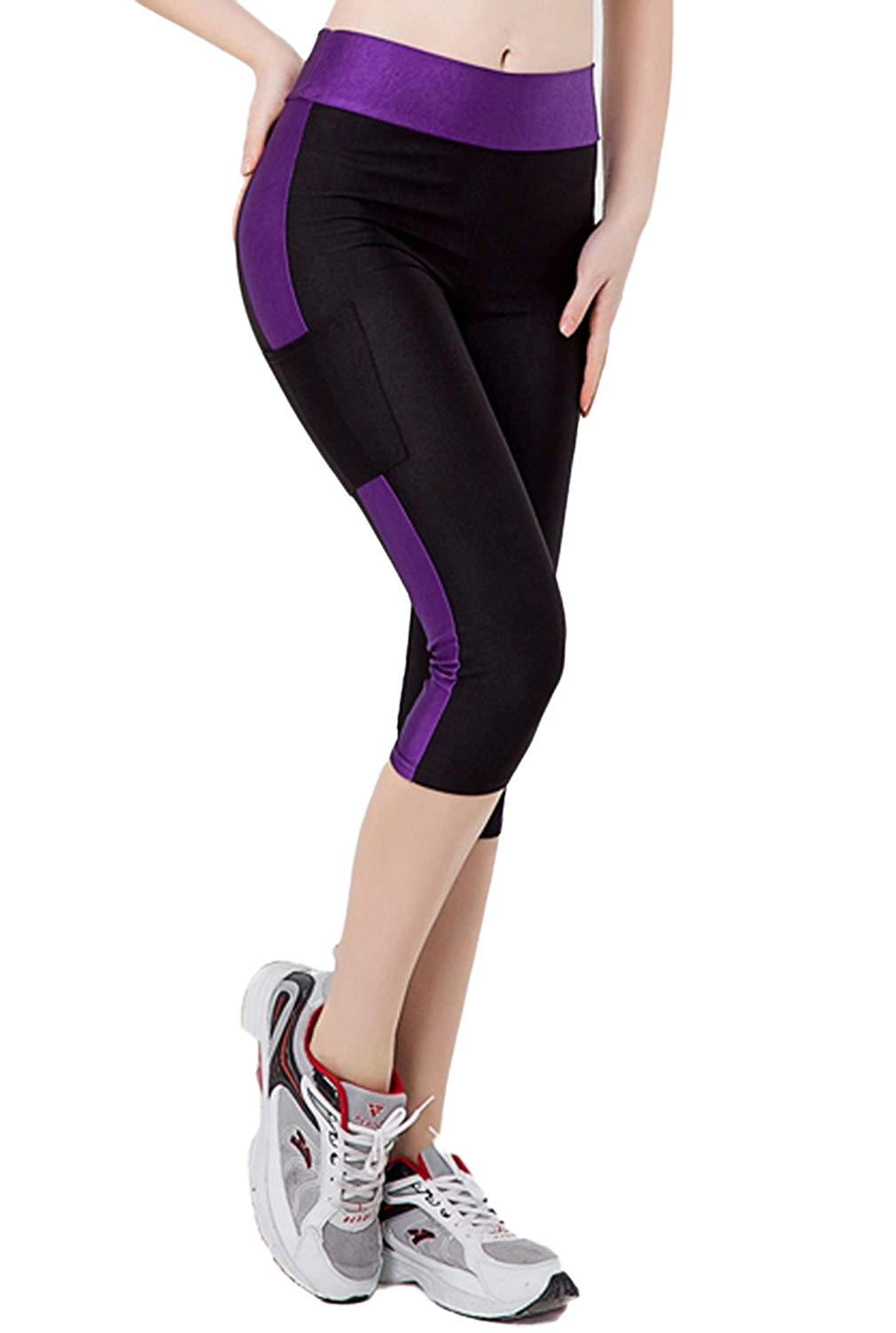 98a0e7618824bc Get Quotations · AKENA Women Sports Running Stretch Leggings Slim Fitness  with Pockets Tights Skinny Spandex Workout Capri Yoga
