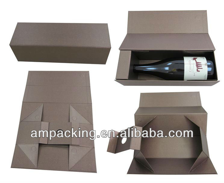DongGuan factory custom brown krat flat folding card board wine gift box
