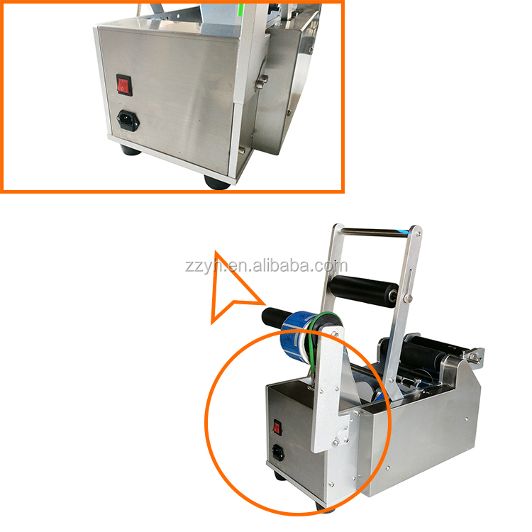 semiautomatic manual round glass wine bottle pet water bottle labeling machine