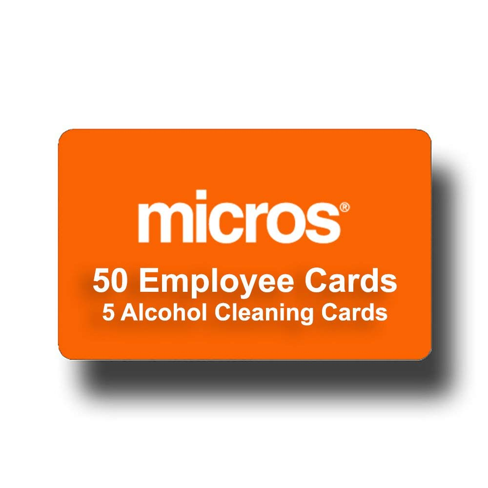 50 Orange Micros Compatible Server Swipe Employee or Manager ID Cards + 5 Credit Card 100% Alcohol Cleaning Swipe Cards - Amazon Prime Shipping