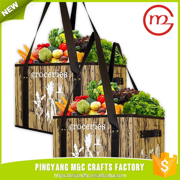 Deluxe Collapsible Reusable Shopping Box Bag with Reinforced Bottom