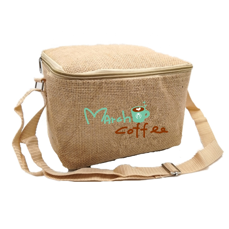 싼 Price Insulated 열 Character Printing 조절 Shoulder Strap 황 마 Lunch Bag