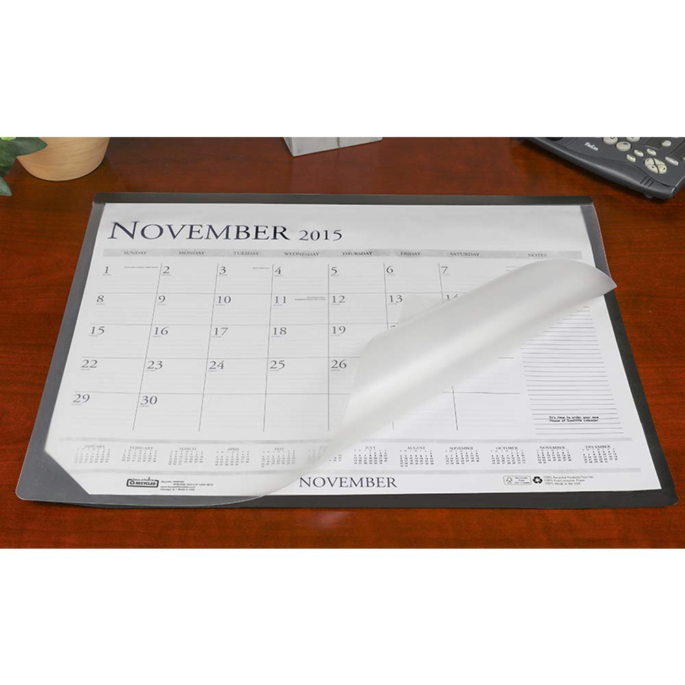 """Artistic 17.5"""" x 23"""" Lift Top Desk Mat Paper Desk Pad Protector with Overlay - Holder for 17"""" x 22"""" Paper Calendar, Blotter Paper/Grid Paper, Black/Frosted"""