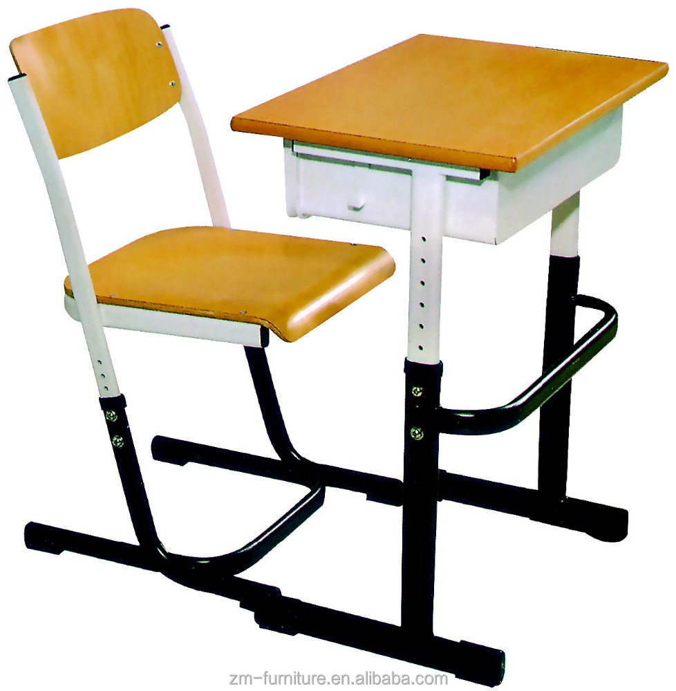 Wooden Single Adjustable Student Desks and Chairs