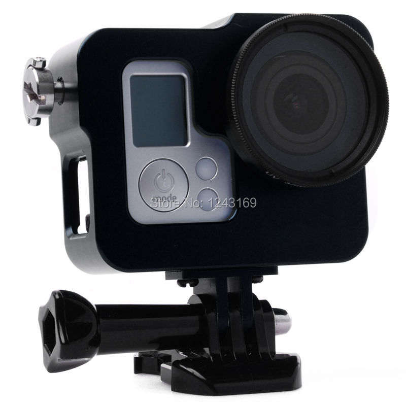 CNC Metal Skeleton Rugged Frame Protective Case + UV Filter For GoPro Hero 3 3+