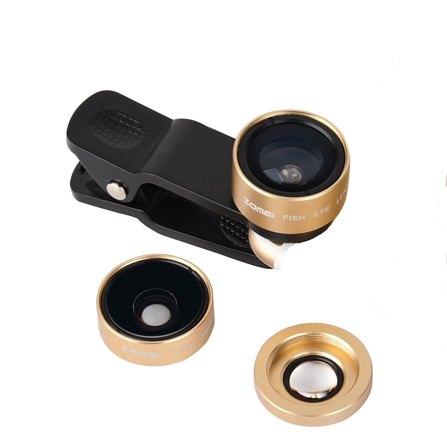 Zomei Universal 3 in 1 Clip-On Cell Phone Lens 0.36X Wide Angle + Macro Phone Lens + Fish Eye Lens For iphone Samsung Ipad(Champaign Gold)
