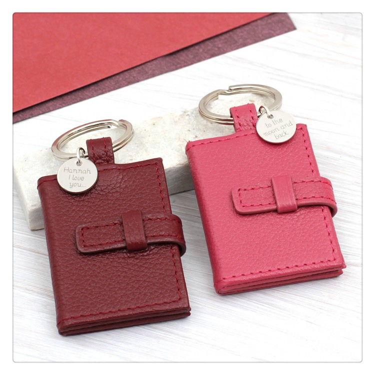 Lovely Personalised Textured Leather Photograph Book Keyring Mini Picture Frame