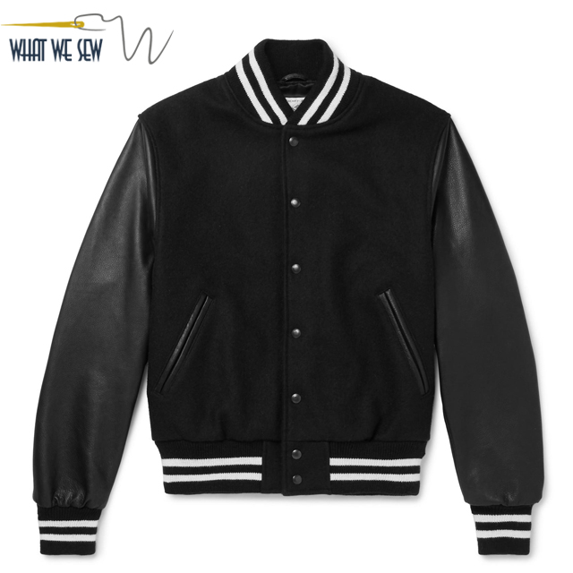 Custom luxury leather sleeve mens wool varsity bomber jacket men with striped knit cuffs
