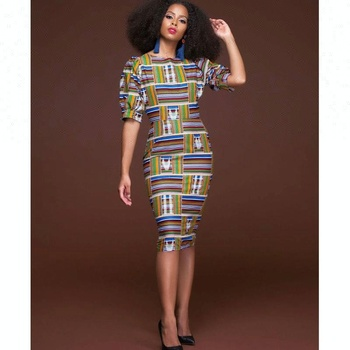 dad1983a8599 Oem Wholesale Half Sleeves Midi Bodycon African Wax Print Dress ...