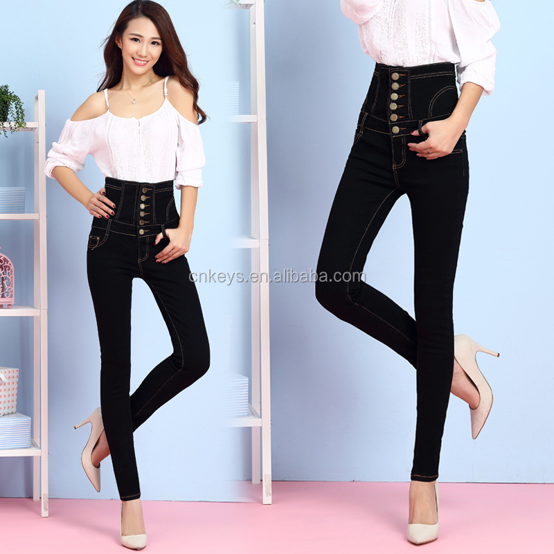 K1836A 2017 Spring Latest Fashion Plus Size Vintage Summer Jeans Pants For Fat Women High Waisted Tight Skinny Ladies Jeans