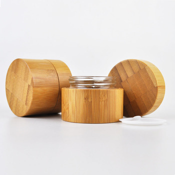 Environmental and eco friendly empty bamboo outer glass liner cosmetic packaging cosmetic cream jar