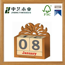 2015 latest natural wood perpetual wooden desktop calendar