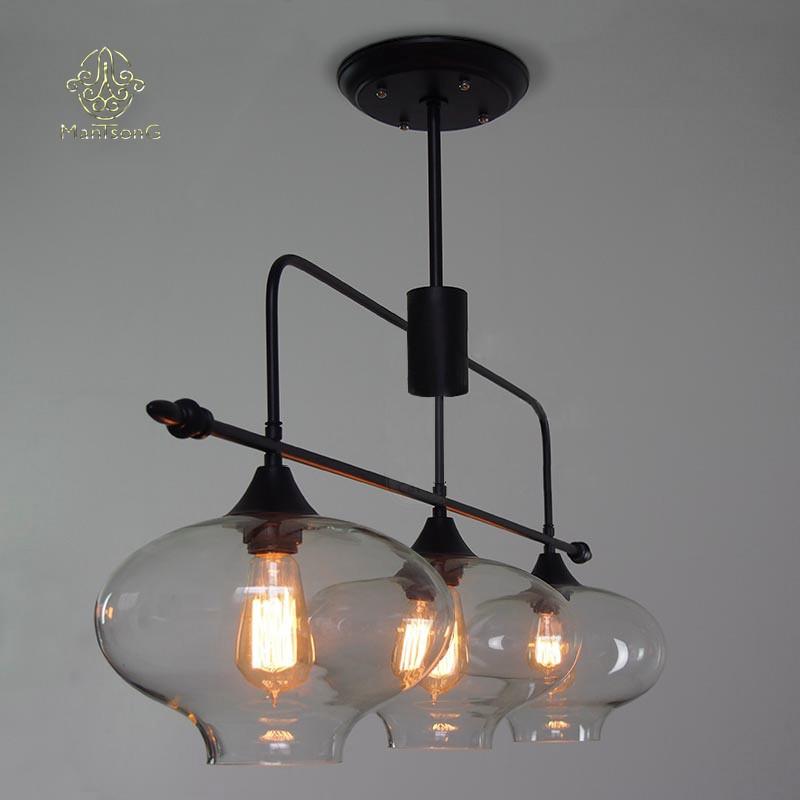 European Style 3 Lights Decorative Glass Pendant Light For Home ...