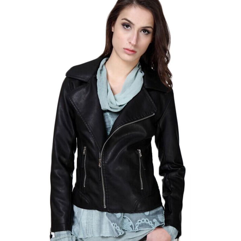 2015 New Leather Jacket Women Brand 2015 Fashion Slim Motorcycle Pu Leather Jackets Coats Plus Size Black Jacket XL XXL WJA08