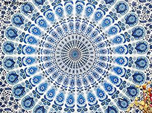 Blue Mandala Twin Peacock Tapestry Floral Indian Wall Hanging Hippie Throw Indian Bedsheet Wall Decor Sofa Table Coverlet Hippy Mandala