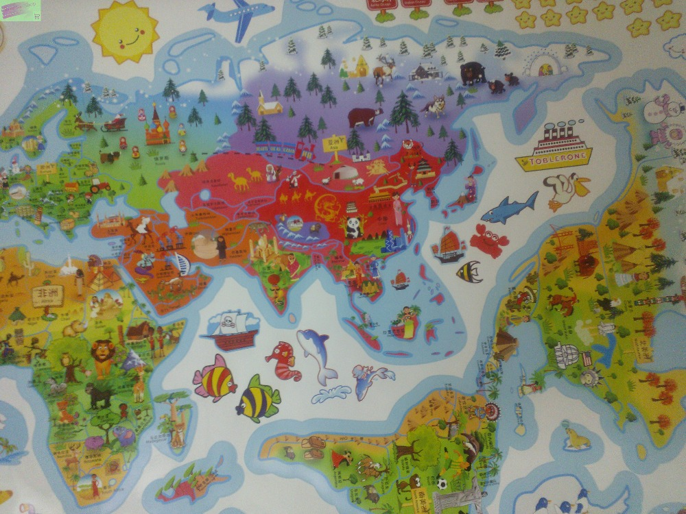 Large Cartoon World Map Wall Stickers For Kids Room