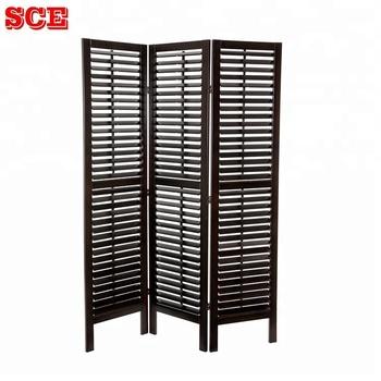Vietnam Room Divider Screens Pine Wood Frame With Close And Open Shutter Slats Wooden Folding Screen Venetian Blind