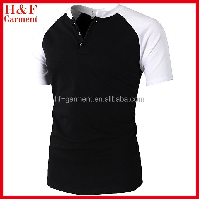 two-tone plain color t shirt with buttons in black and white