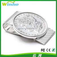 Winho Tourist Souvenir Silver Money Clip with a Coin