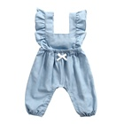 Wholesale boutique baby clothes girls soli cotton light denim toddler flutter sleeve romper