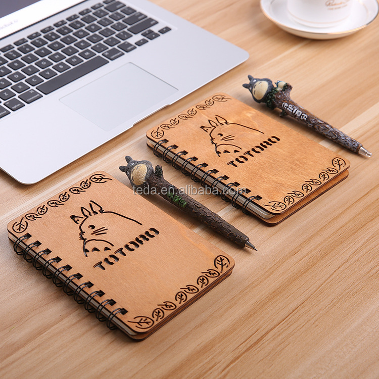 Japan and South Korea cartoon notebook Wooden coil Simple ideas for thin Diary book students stationery gift