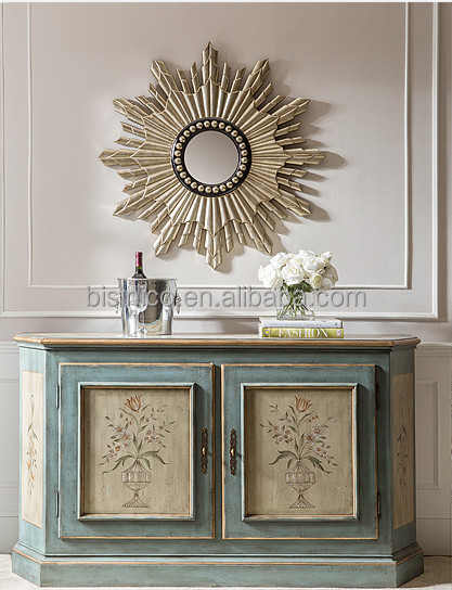 Elegant Home Decorative Side Cabinet, Hand Painted 2 Door Console Table  With Mirror,