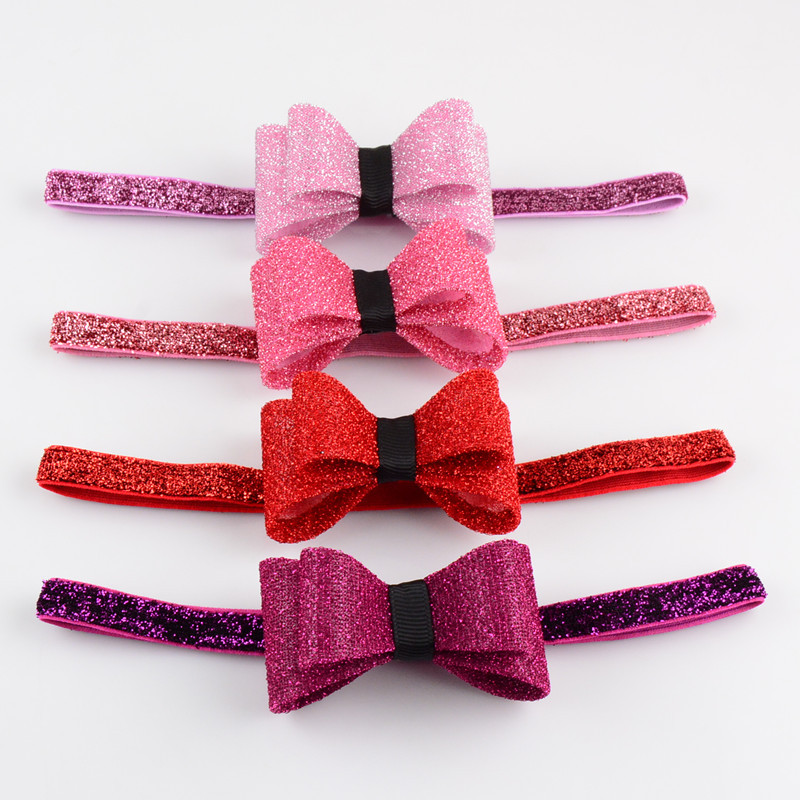 e24fb9d8b3db Baby Girl Elastic Headbands Bow Knot Sparkling Hair Accessories ...