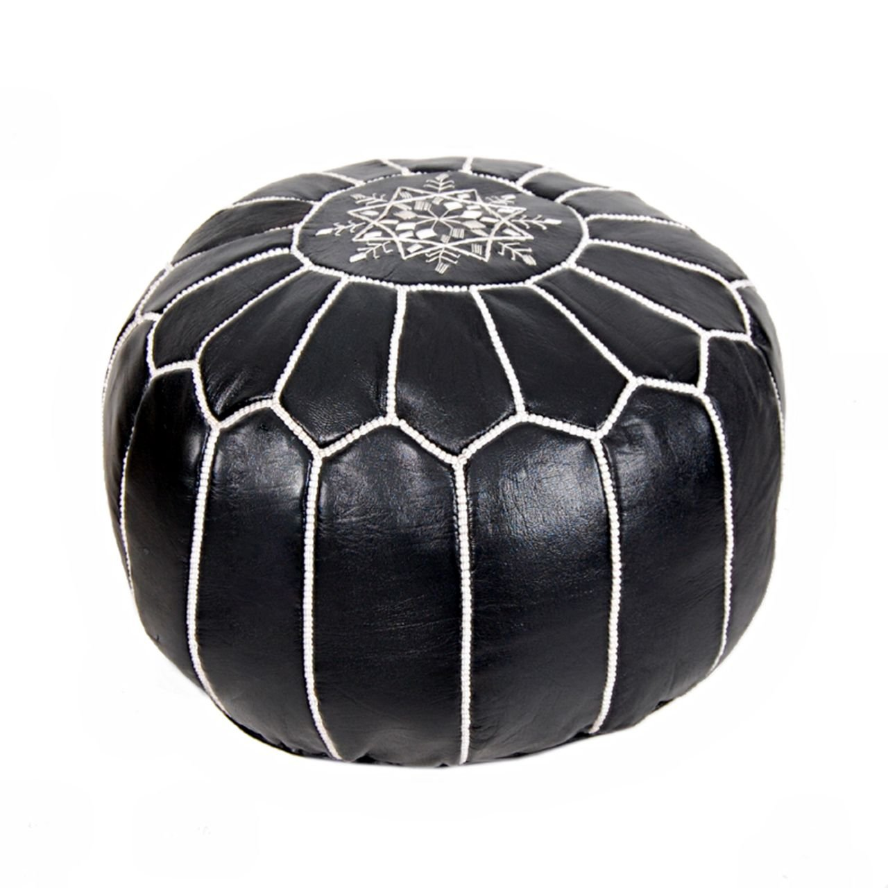 Moroccan Leather Pouf Ottoman Footstool (Leather) Genuine Hand-Stitched Seating | Unstuffed | Living Room, Bedroom, Sitting Area | Black White