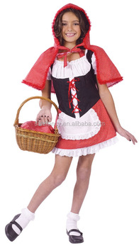 Kids Fancy Dress Sexy School Country Girl Halloween Photo Costume Red Riding Hood Large QBC